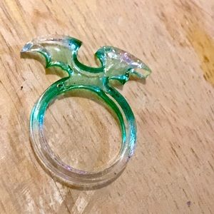 Green bat wing resin ring